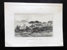 Charles Lewis after E. W. Cooke 1874 Etching. In the Borghese Villa, Rome Italy